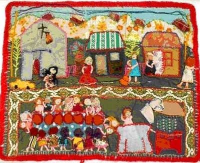 Chilenas Rock! Chilean women whose husbands/sons disappeared in the Pinochet regime made brightly colored wall hangings called arpilleras, which contain intricate scenes made of rags embroidered on burlap. Many contain images, photographs, and the names of their missing family members. They were often passed throughout communities in hopes of locating relatives. They also smiggled them out of the country to sell and help support these women.