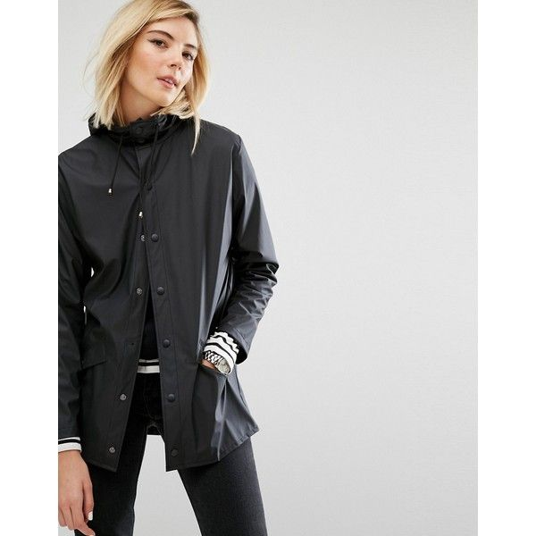 Rains Waterproof Jacket (€88) ❤ liked on Polyvore featuring outerwear, jackets, black, water proof jacket, light weight jacket, pocket jacket, tall jackets and lightweight jackets