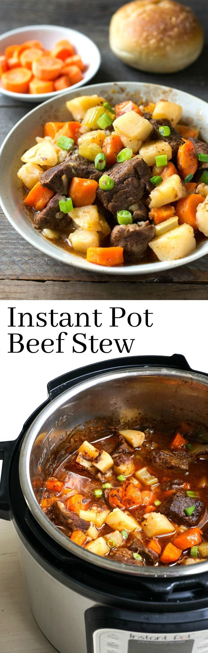 This Instant Pot Beef Stew is a delicious, healthy dinner recipe. It's so easy to make this comfort food favorite in the Instant Pot. via @realfoodrecipes
