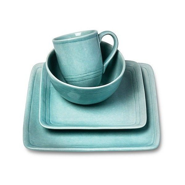 Cooper Dinnerware Set 16-Piece. Stoneware Teal ($70) ❤ liked on Polyvore featuring home, kitchen & dining, dinnerware, green, green bowl, green dinnerware sets, stoneware dinner plates, stoneware dinnerware and everyday dinnerware