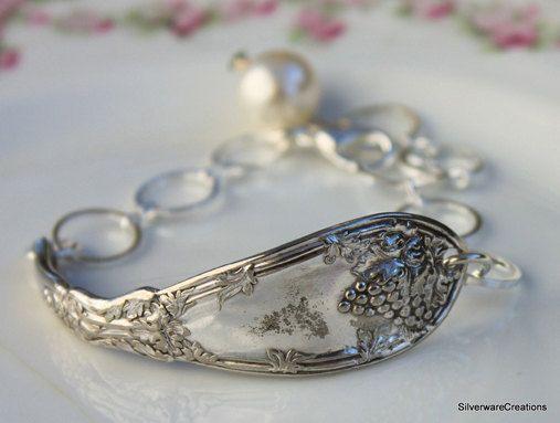 Vintage SILVERSPOON Bracelet - LA VIGNE 1908 - Antique - Silverspoon Jewelry, Antique Spoon Bracelet, Green Rhinestone - Art Nouveau. $ 29.00, via Etsy.
