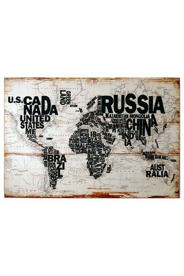 Iron Trade Imports Decor -   World Map Wall Art: Wall Decor, World Maps Wall, Ideas, Wallart, Maps Wall Art, Black And White, House, Memo Boards, Woods Wall
