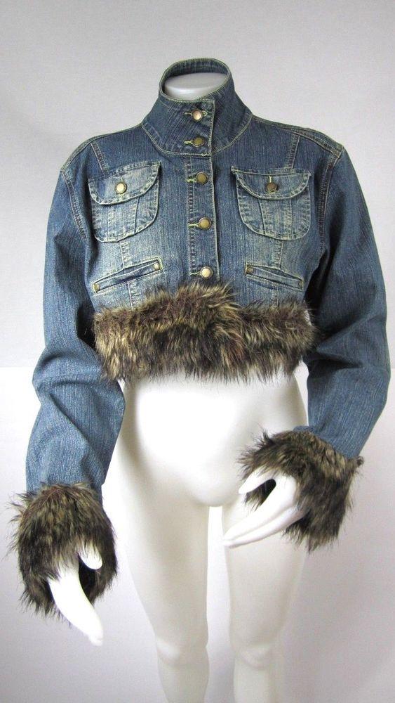 Elite Jeans Womens Cropped Jean Jacket Size 2X Faux Fur Button Up Pockets #EliteJeans #JeanJacket