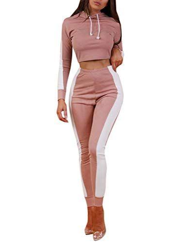 Minetom Femmes Jogging Yoga Gym Survêtement Manches Longues Rayure Crop Top  Sweat-Shirt à Manches et Pantalon Ensemble de Sportwear Vêtement de Sport  2pcs ... 5f409f45885