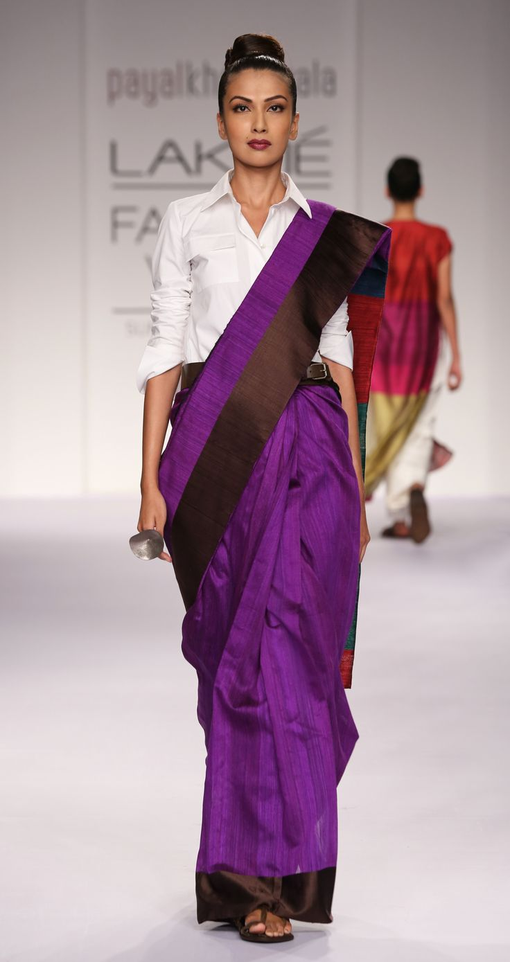 payalkhandwala - SS/2014 - Cotton Shirt and Silk Sari