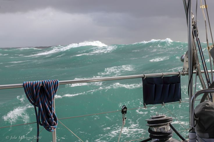 """""""Storm on Tasman Sea"""" Captured from a sailing boat close to Tasmania (Australia). Not the best conditions to take a photo :-) Camera: Canon EOS 550D, shutter speed 1/200, aperture 9.0, ISO-100, Kit lens 18-55mm."""