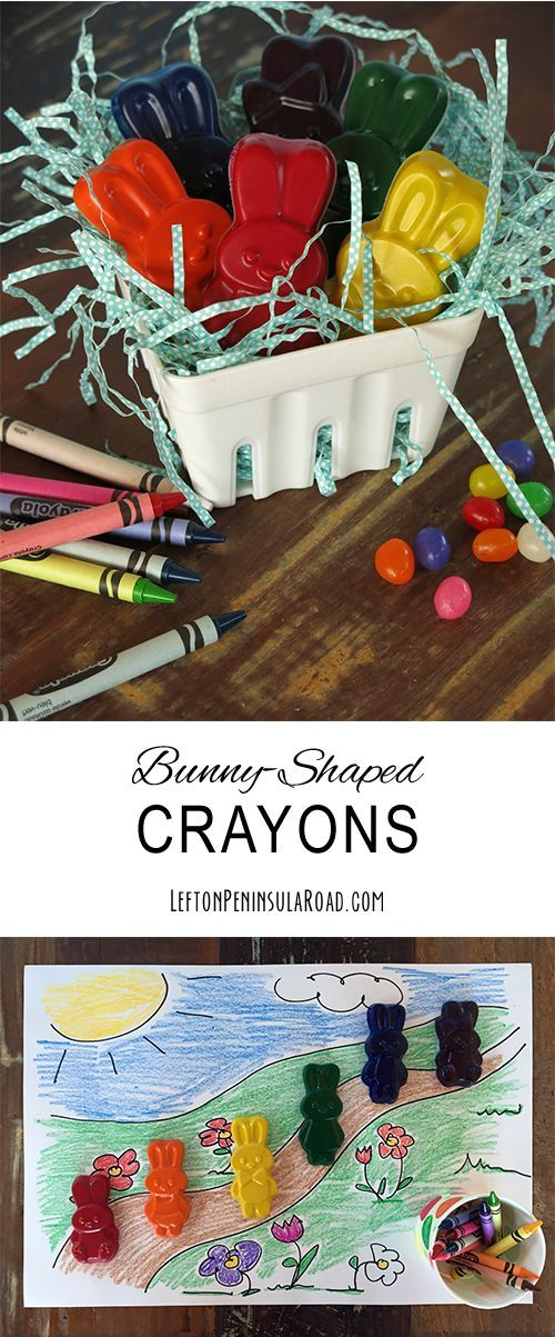 Make Bunny-Shaped Crayons for Easter! Fun up-cycle craft to do with the kids.