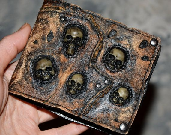 Steampunk - Leather wallet  Zombie purse Steampunk wallet Leather purse Leather wallet  Mutation  Necronomicon  Mad Max  Mens wallet Skull wallet by FamilySkiners