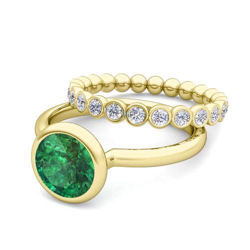 Fresh Custom made bezel set natural emerald engagement ring bridal set in k yellow gold at My