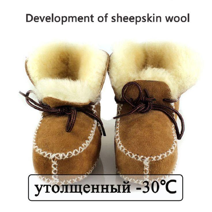 Зима детская обувь сапоги младенцы теплые ботинки шерсти девушки детские пинетки Овчины Натуральной Кожи мальчик детские меховые сапоги новорожденных купить на AliExpress