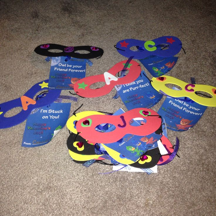 PJ Masks Valentines  Foam Masks with stick on letters; heart gems for girls; stars for boys (Michaels)  PJ Mask tags (Etsy)