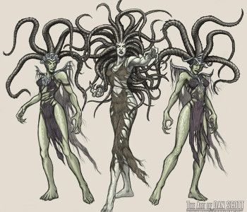 """In Greek mythology, a Gorgon (/ˈɡɔːrɡən/; plural: Gorgons, Ancient Greek: Γοργών/Γοργώ Gorgon/Gorgo) is a female creature. The name derives from the ancient Greek word gorgós, which means """"dreadful"""". While descriptions of Gorgons vary across Greek literature and occur in the earliest examples of Greek  literature, the term commonly refers to any of three sisters who had hair made of living, venomous snakes, as well as a horrifying visage that turned those who beheld her to stone."""