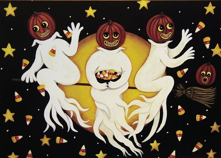 Folk Art Halloween Card -Three Ghosts Flying Through the Night Sky Tossing Candy Corn - Custom Greeting Card -Choose Your Own Inside Message by RavensBendFolkArt on Etsy