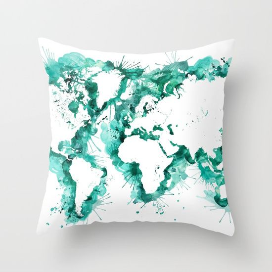 Watercolor splatters world map in teal Throw Pillow
