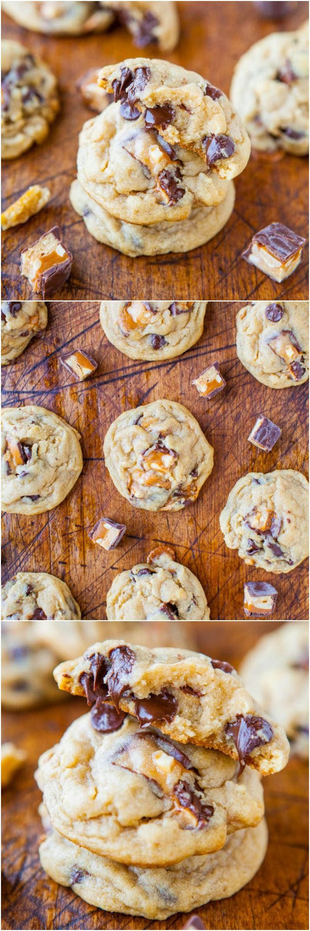 Soft and Chewy Snickers Chocolate Chip Cookies - The classic candy bar just got better because it's baked into soft, chewy cookies packed with chocolate chips! Easy recipe at averiecooks.com