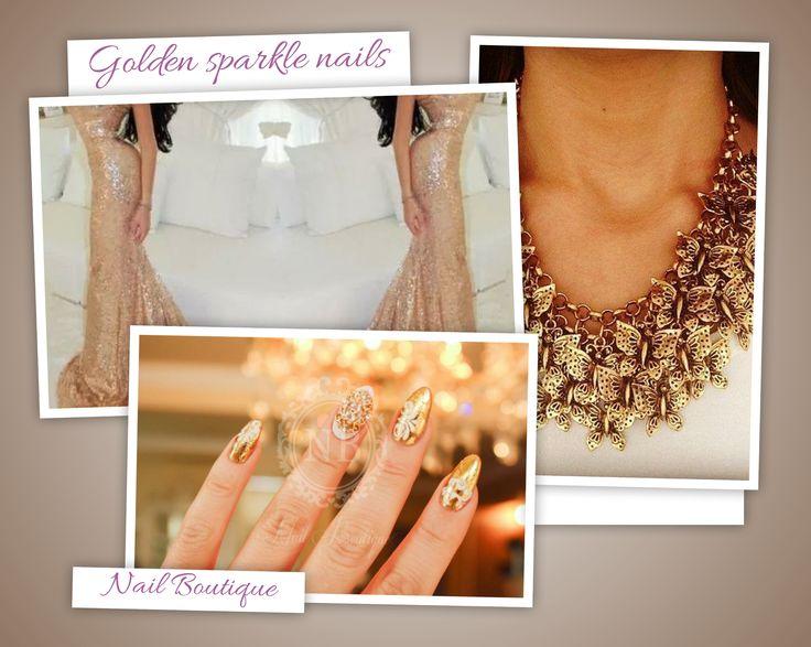 Sparkling golden nails