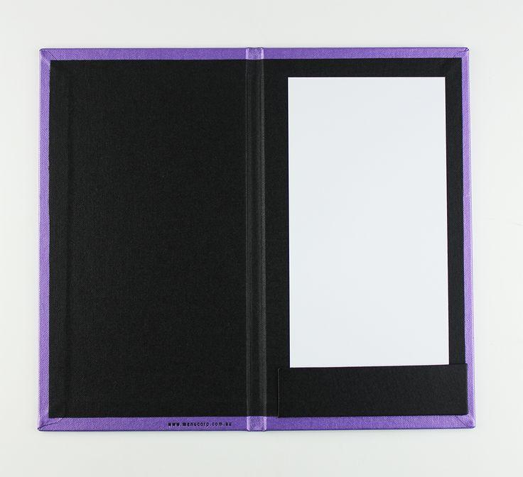 Bill Presenter   Metallic Purple Buckram - Black Buckram - Strip Pocket
