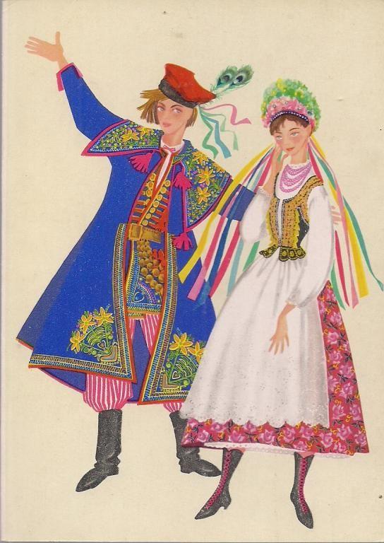 Traditional flower crowns from Poland. Region of Kraków. Postcard with illustration by Irena Czarnecka.