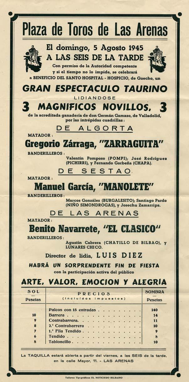Espectáculo taurino en Las Arenas, 1945