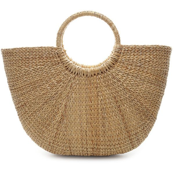 STRAW BAG (£44) ❤ liked on Polyvore featuring bags, handbags, brown bag, straw bags, straw purse, straw handbags and brown handbags
