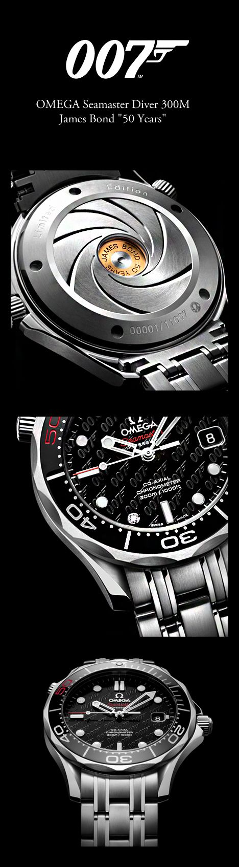"OMEGA Seamaster Diver 300M James Bond ""50 Years"" https://uk.pinterest.com/925jewelry1/men-watches/pins/"