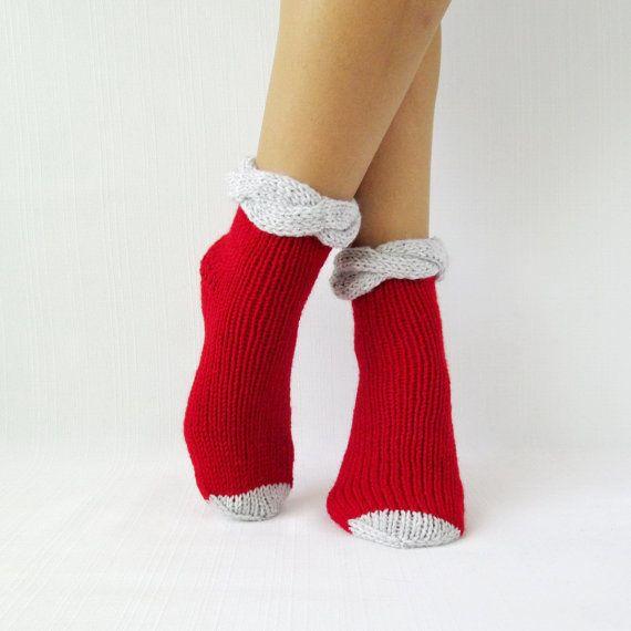 Red socks KNIT SOCKS wool rustic socks hand knit by mymomsshop1