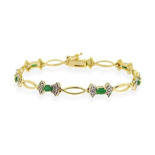 18K Gold Over Sterling Silver Genuine Emerald & Diamond Accent Bow Bracelet SilverSpeck.com. $44.99