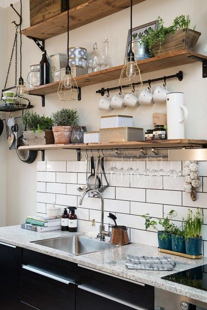 Recycled timber open shelving in the kitchen