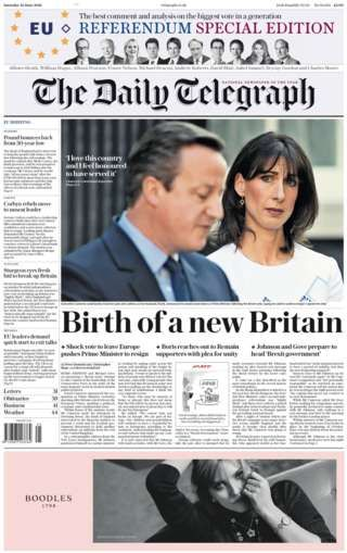 Newspaper headlines: 'New Britain' and Brexit 'earthquake' - BBC News