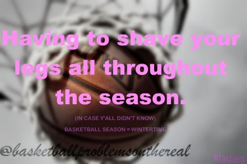 Basketball Problems. I should, but I don't. My team knows me, they don't judge! :)