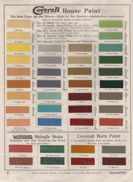 """Fashionable paint colors for early 20th century America"". Paxton Hardware, Ltd. Colonial revival paint colors, circa 1915."