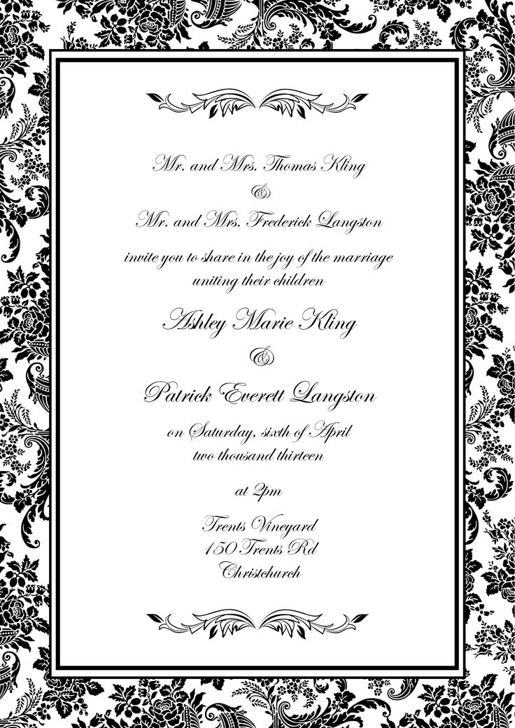 Ashley & Patrick's Invite - www.chicdesign.co.nz