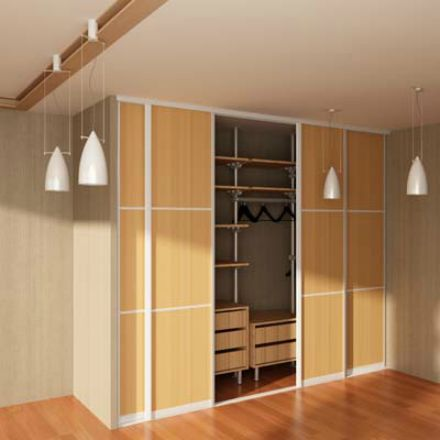 Sliding closet doors with wooden boards.