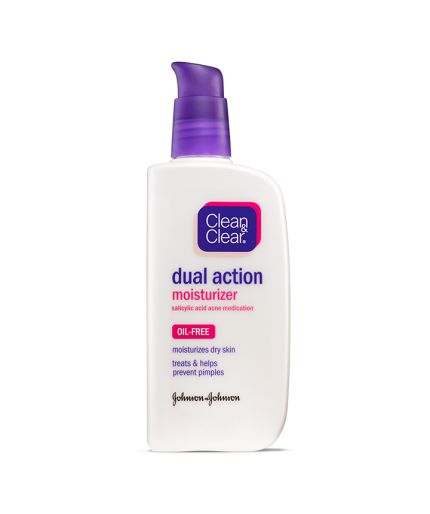 CLEAN & CLEAR® Oil-Free Dual Action Moisturizer with Salicylic Acid, softens dry skin, while helping to treat and prevent acne.