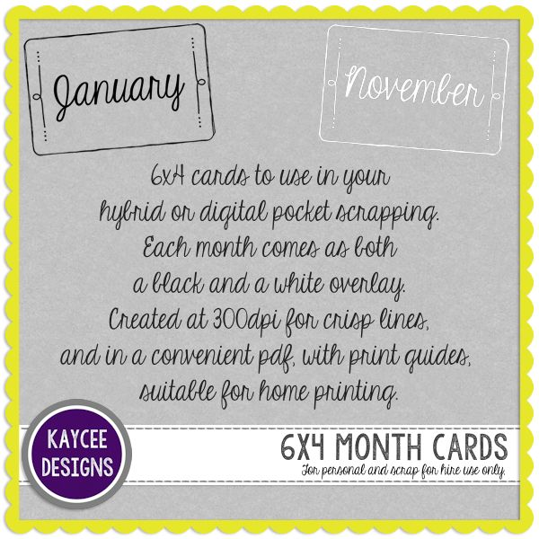 Freebie Week 4: Month Journal Cards - KayCee Layouts & Designs