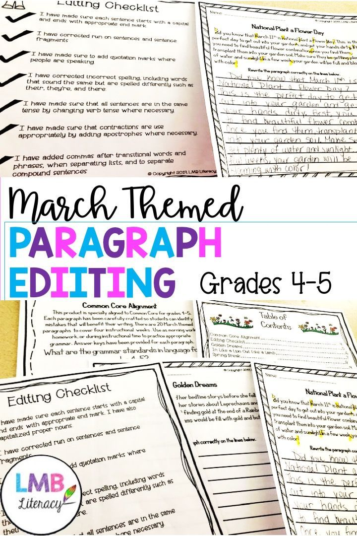 March Writing Paragraph Editing Worksheets For Grades 4 5 Teaching Writing Paragraph Writing March Writing Paragraph editing worksheets 4th grade