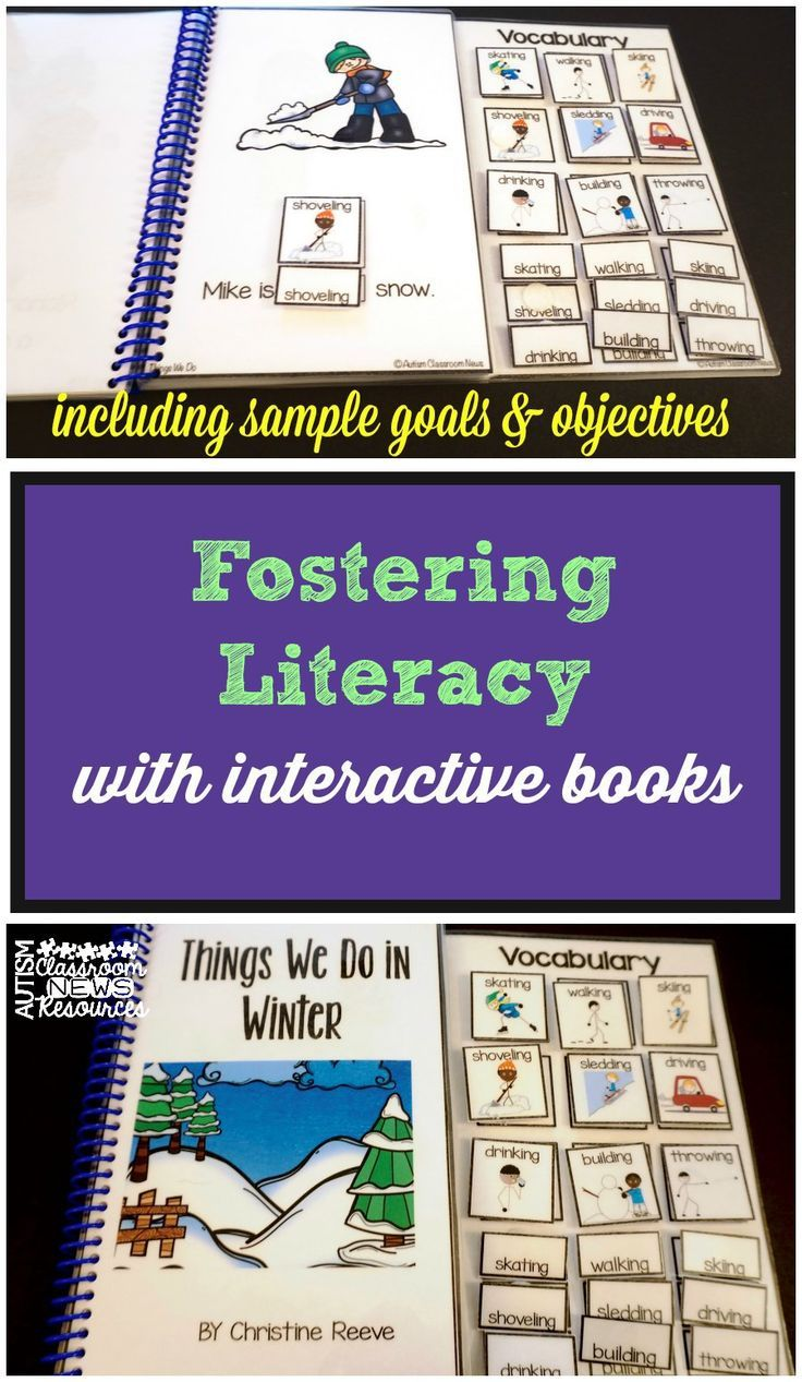 Fostering Literacy with Interactive Books: Goals and Objectives.  Some really great IEP goals and objectives as well as activities that can accompany the use of interactive books.  Read more at:  http://www.autismclassroomresources.com/fostering-literacy-with-interactive-books-goals-objectives/