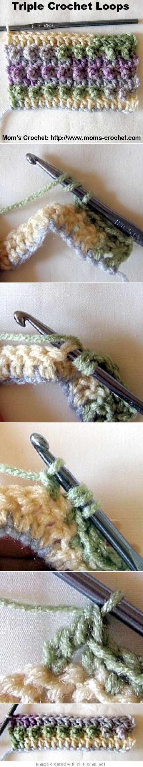 Crochet Triple Loops.Stitch - Tutorial ❥ 4U // hf  http://www.pinterest.com/hilariafina/