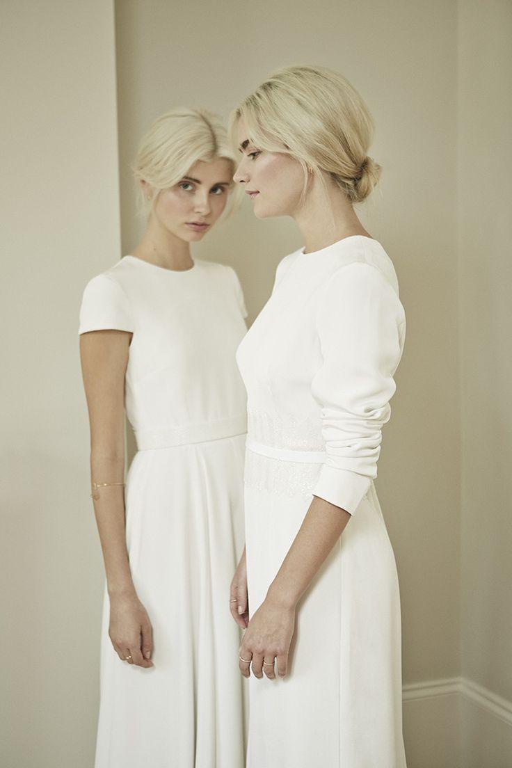 Charlotte Simpson modern simple wedding dress, long sleeve wedding dress, cap sleeve wedding dress