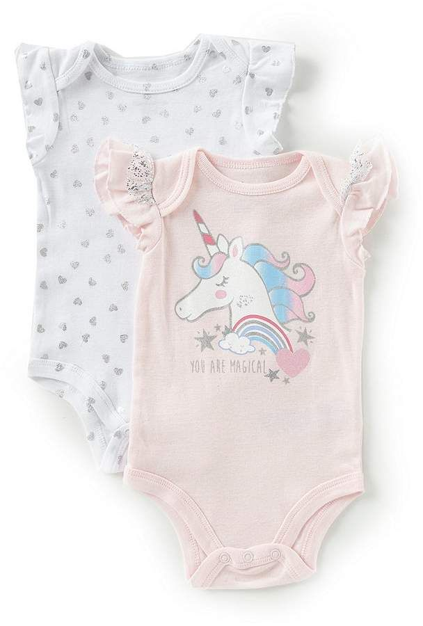 c2fcfd333 Baby Girls 3-9 Months Unicorn/Heart-Print Bodysuit Two-Pack #sleeves#ribbed# flutter