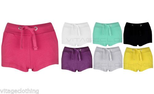 Womens-Girls-Casual-Summer-Holiday-Shorts-Ladies-Jersey-Tie-Hotpants-8-10-12-14