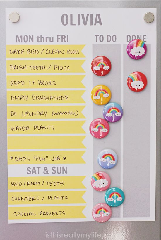 Free printable magnet chore chart