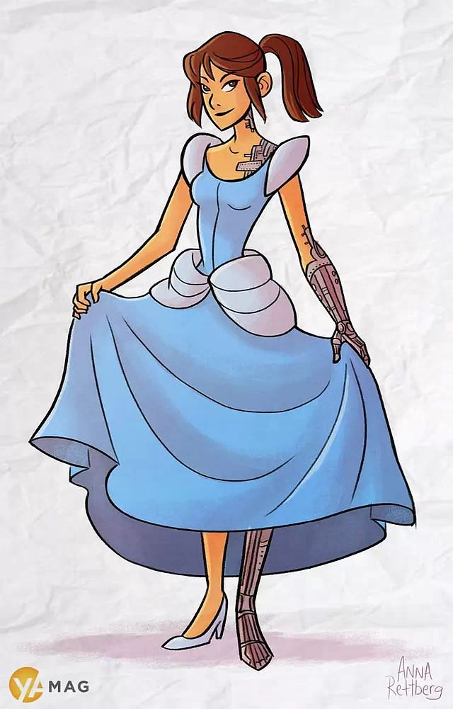 "Cinder (""Cinder"" by Marissa Meyer) as Cinderella:"