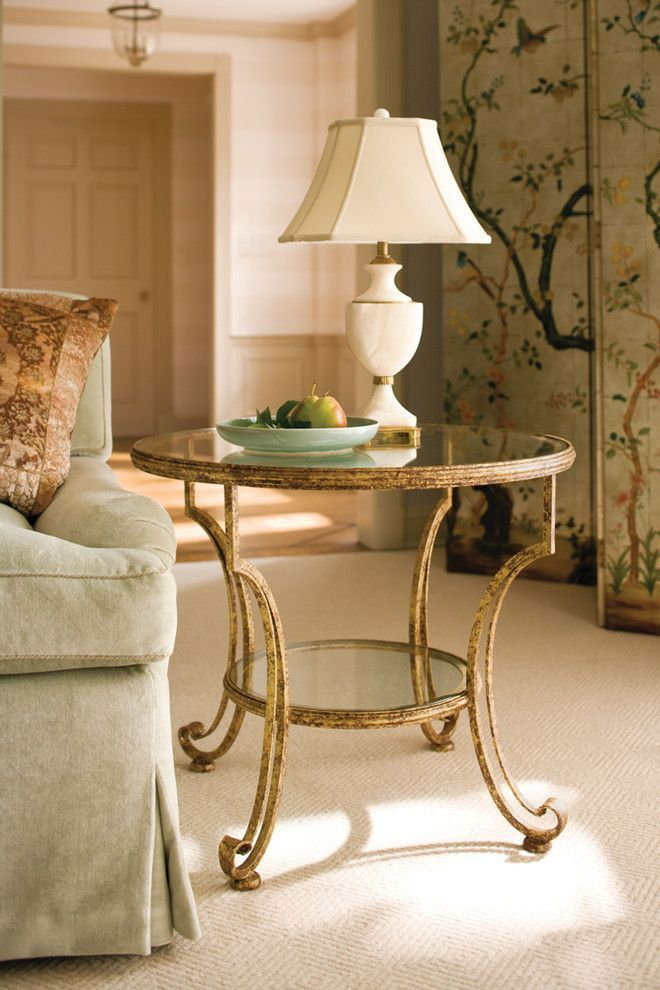 Living room decor with handwrought iron table in heavily