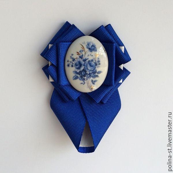 """Купить Брошь-орден с галстучком """"Гжель"""" - брошь, брошь-орден, брошь-галстук, женский галстук"""