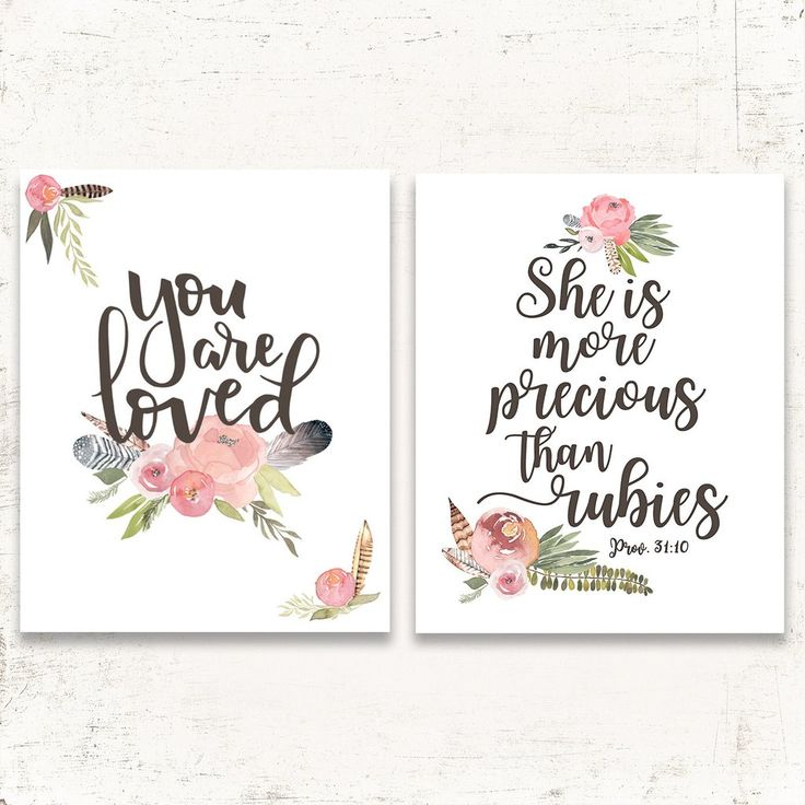 Vintage Girls Nursery Set of Two - Bible Verses for Girls Room