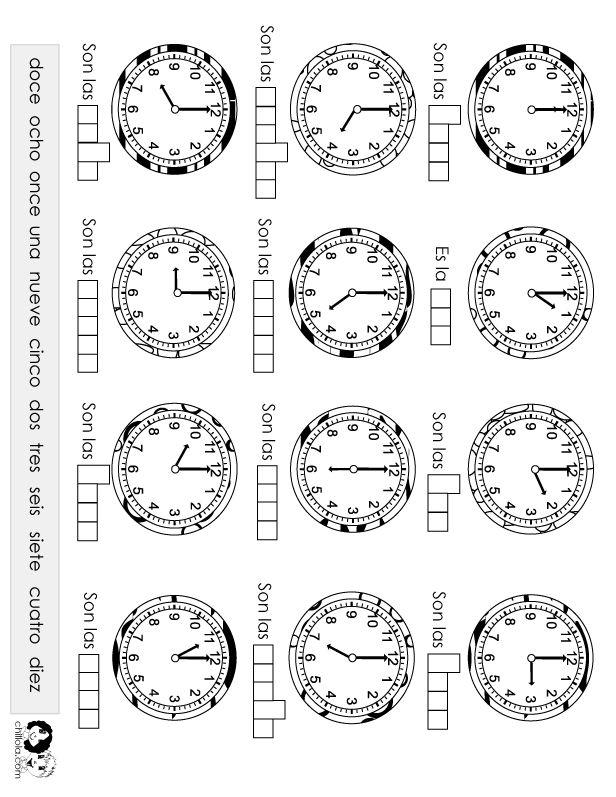 Actividad rápida? time worksheet spanish -- FREE to print