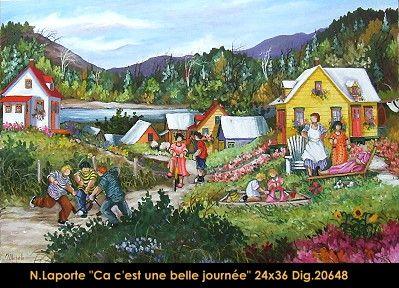Nicole Laporte original oil painting on canvas #nicolelaporte #art #artist #canadianartist #quebecartist #naiveart #summerscene #playing #outside #originalpainting #oilpainting #balcondart #multiartltee