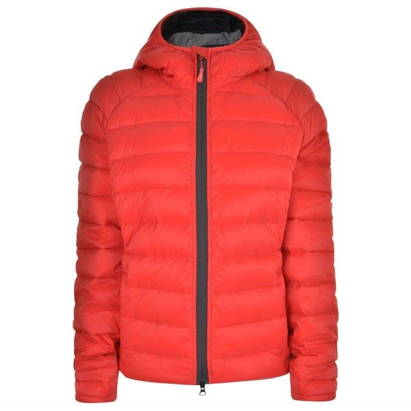 CANADA GOOSE Brookvale Hooded Jacket (31.370 RUB) ❤ liked on Polyvore featuring outerwear, jackets, red padded jacket, zip pocket jacket, hooded jacket, canada goose jacket and padded jacket