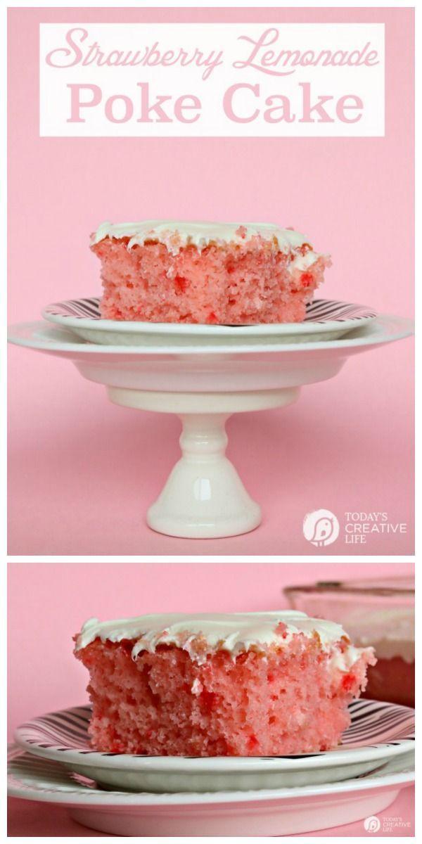 Strawberry Lemonade Cake | Cake Mix Cakes | Spring Cake Ideas | Pink Lemonade Cake | Easy to make recipe | TodaysCreativeLife.com